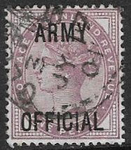 GB SG O43 1896 1d lilac Army Official good/fine used